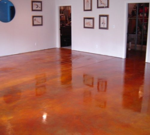 Resdential basement floor acid stain1